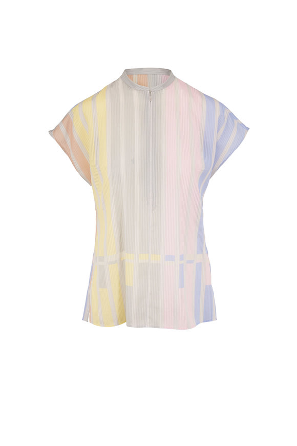 Akris Multicolor Pastel Stripe Front Zip Blouse