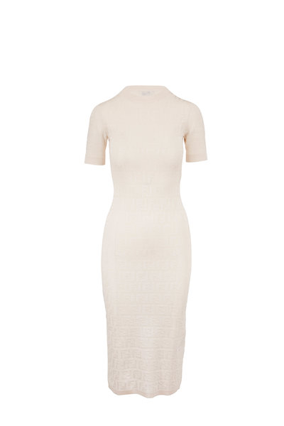 Fendi - White Stretch Cotton FF Short Sleeve Knit Dress