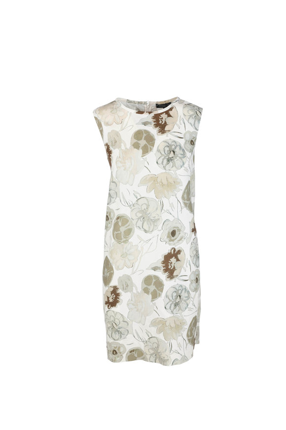 Antonelli Lucca Olive Green & Cream Floral Shift Dress