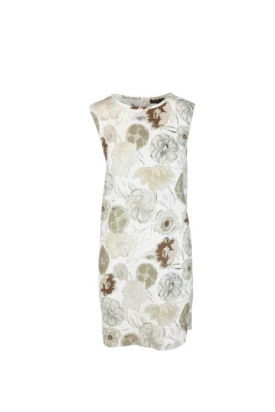 Antonelli - Lucca Olive Green & Cream Floral Shift Dress