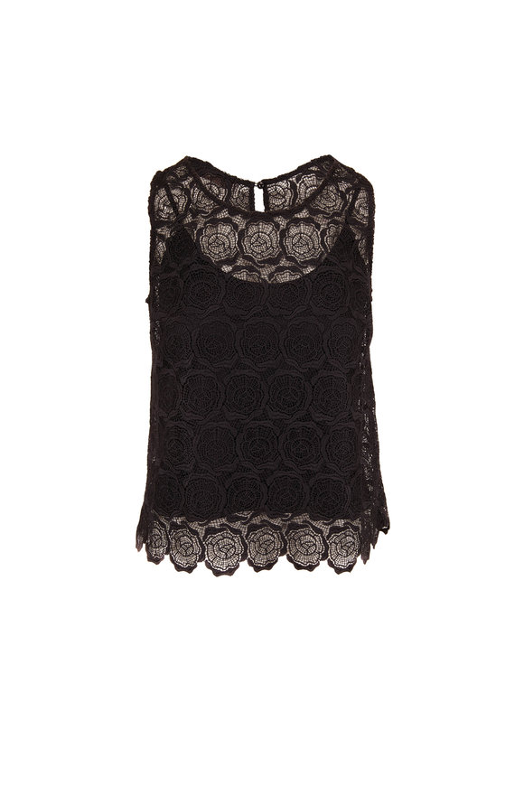 D.Exterior Black Lace Scoop Neck Tank Top