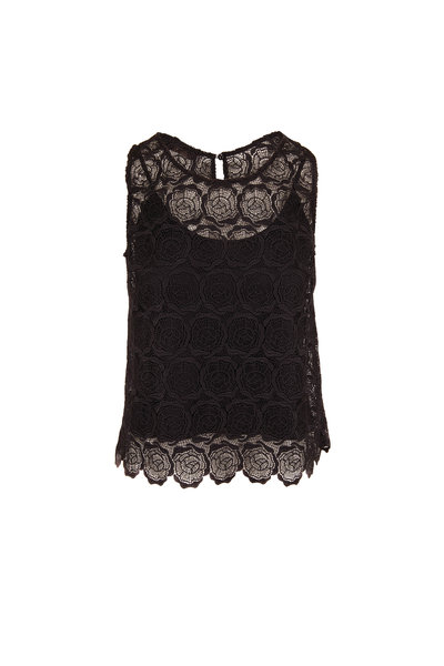 D.Exterior - Black Lace Scoop Neck Tank Top