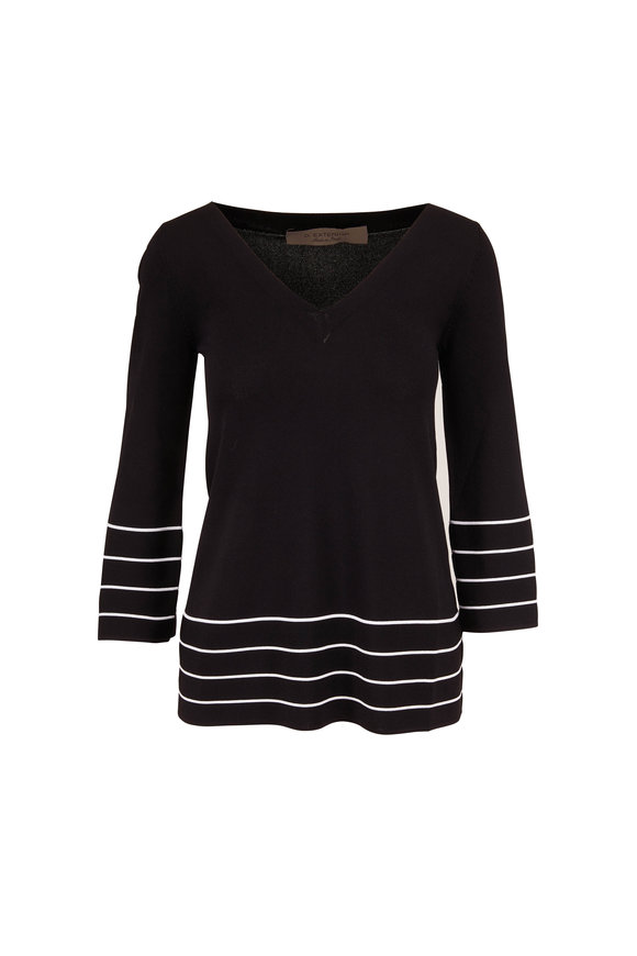 D.Exterior Black & White Stripe Trim Tunic