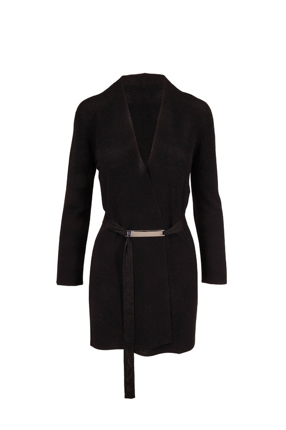 D.Exterior Black Lurex Belted Cardigan