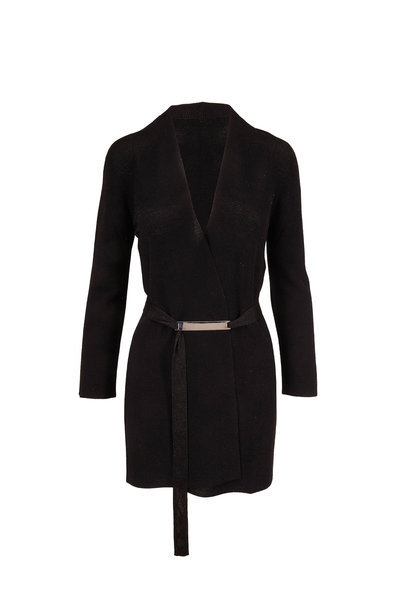 D.Exterior - Black Lurex Belted Cardigan