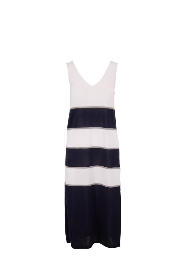 D.Exterior Navy & White Stripe Sleeveless Knit Dress