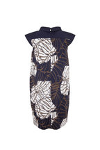 D.Exterior - Navy Blue Printed Sleeveless Dress