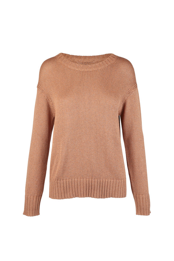 PAIGE Bea Camel & Gold Metallic sweater