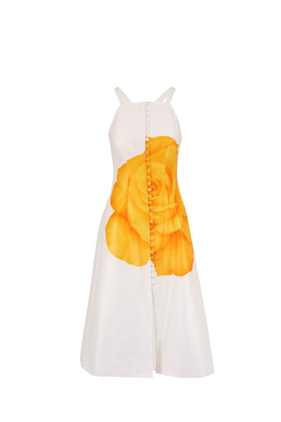 Lela Rose White & Yellow Rose Satin Sleeveless Dress