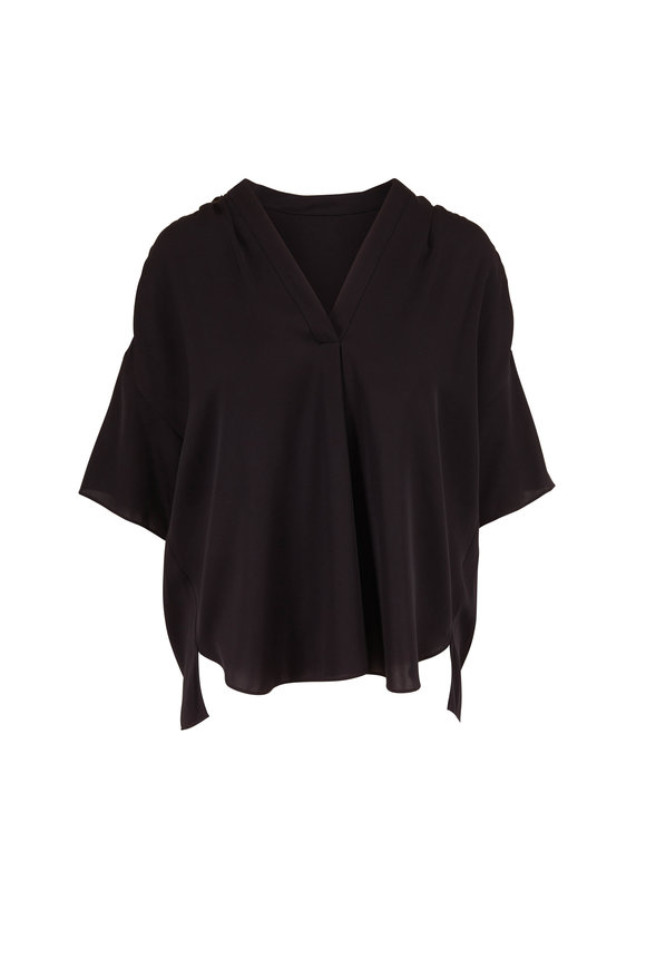 Vince Black Shirred V-Neck Short Sleeve Blouse