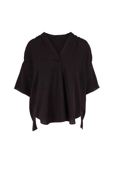 Vince - Black Shirred V-Neck Short Sleeve Blouse