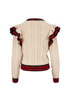 Michael Kors Collection - Corralina Ivory & Crimson Cashmere Sweater