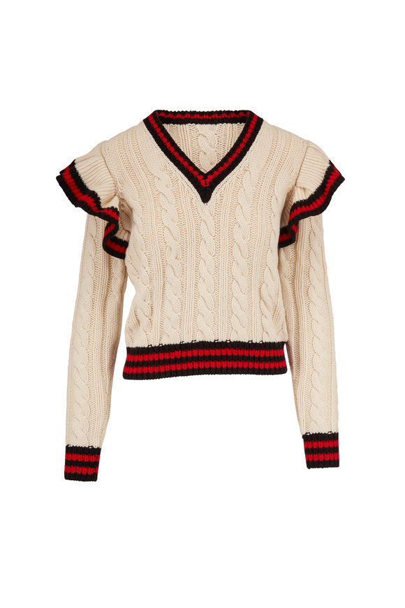 Michael Kors Collection Corralina Ivory & Crimson Cashmere Sweater