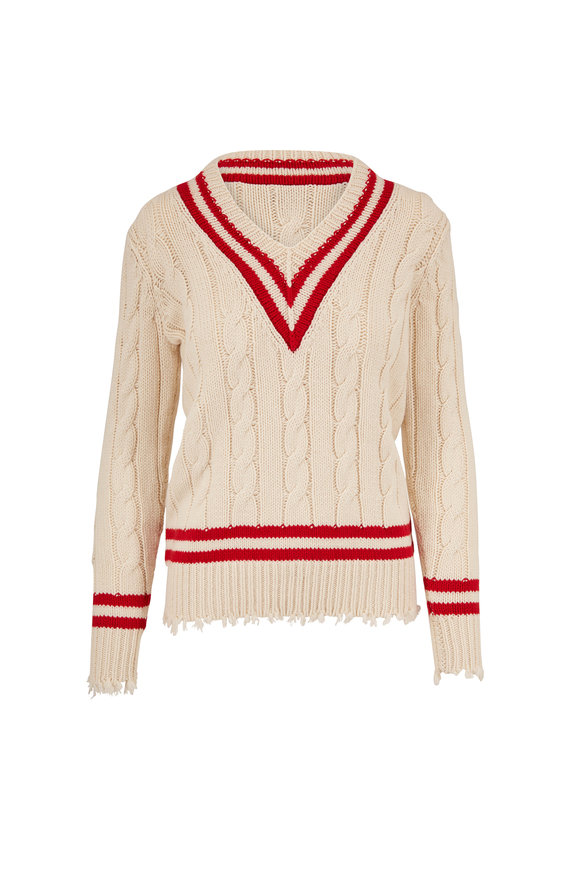 Michael Kors Collection Ivory & Crimson Cashmere Tennis Sweater
