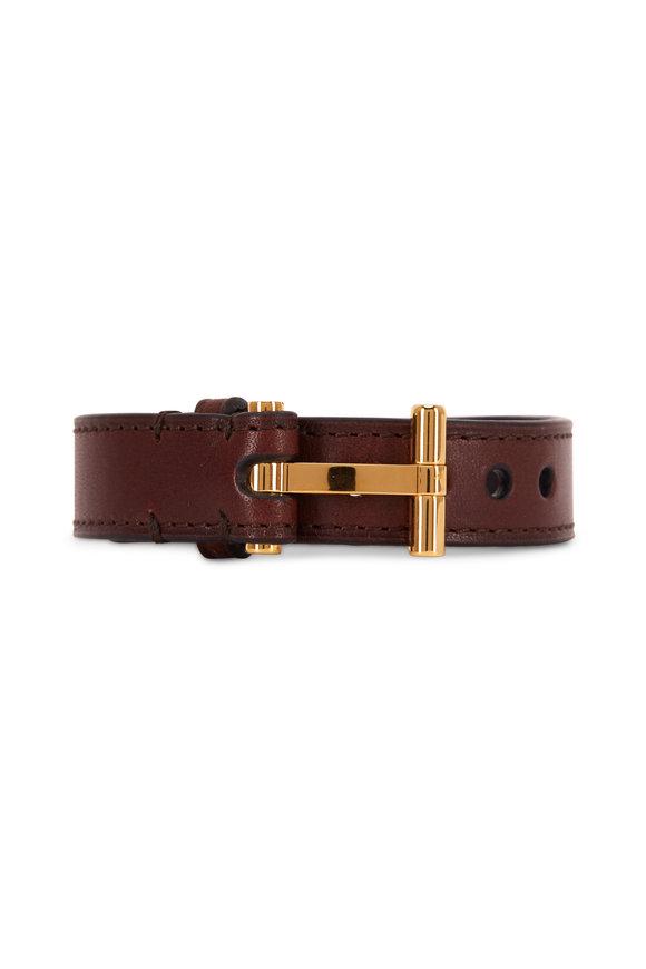 Tom Ford Dark Brown Leather Gold T-Buckle Bracelet