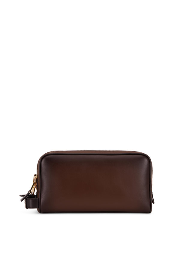 Tom Ford Dark Brown Burnished Leather Lifestyle Bag