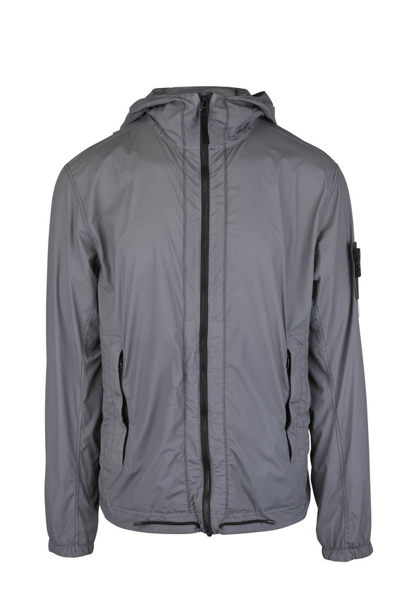 Stone Island Skin Touch Nylon Gray Hooded Jacket