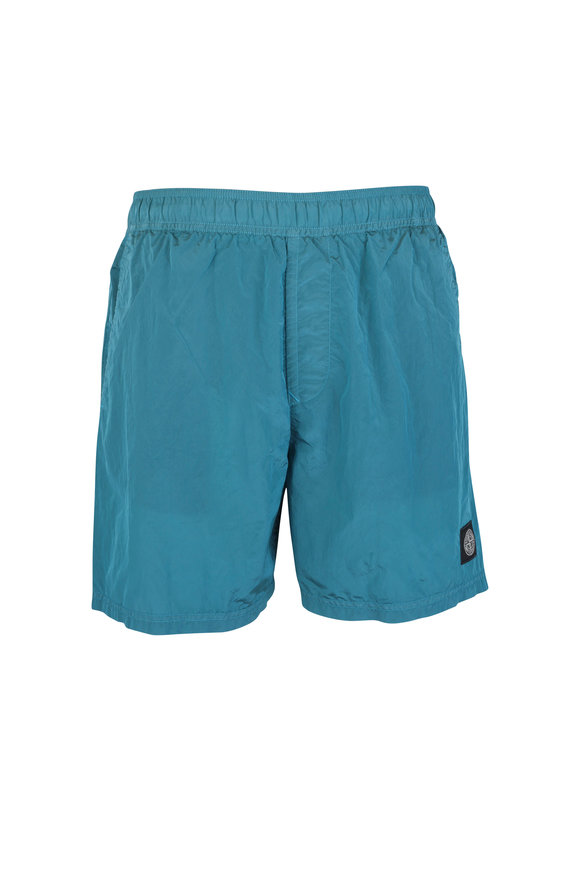 Stone Island Turquoise Nylon Sweat Shorts