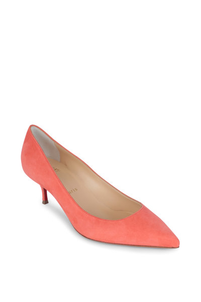 Christian Louboutin - Kate Coral Suede Pump, 55MM