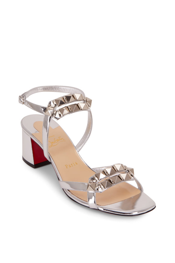 Christian Louboutin Galerietta Specchio SIlver Studded Sandal, 55mm
