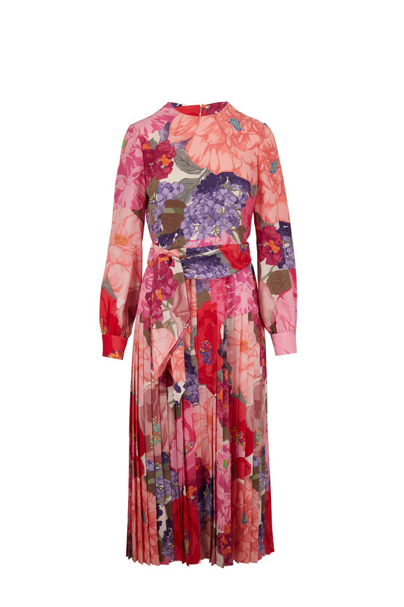 Valentino Multicolor Crepe De Chine Floral Long Sleeve Dress