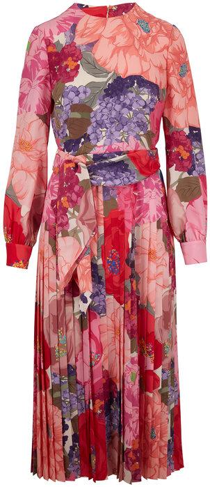 Valentino Multicolor Crepe De Chine Floral Long Sleeve Dress