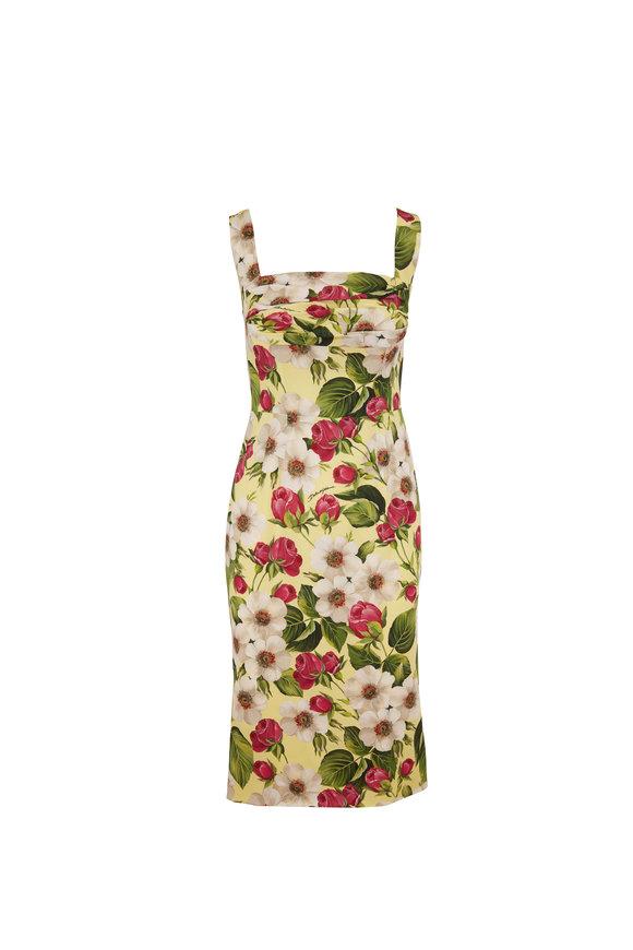 Dolce & Gabbana Yellow Rose Print Stretch Silk Sleeveless Dress