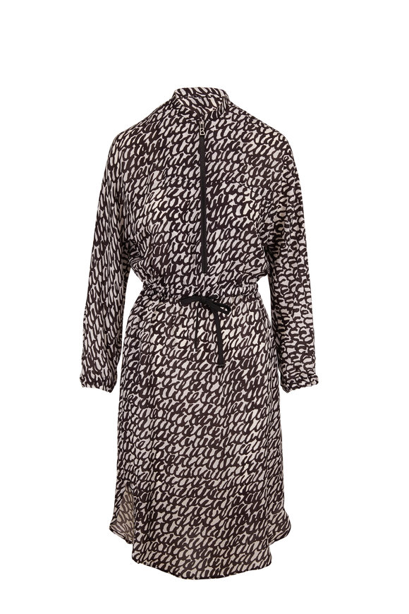 Bogner Annika Black & White Printed Long Sleeve Dress