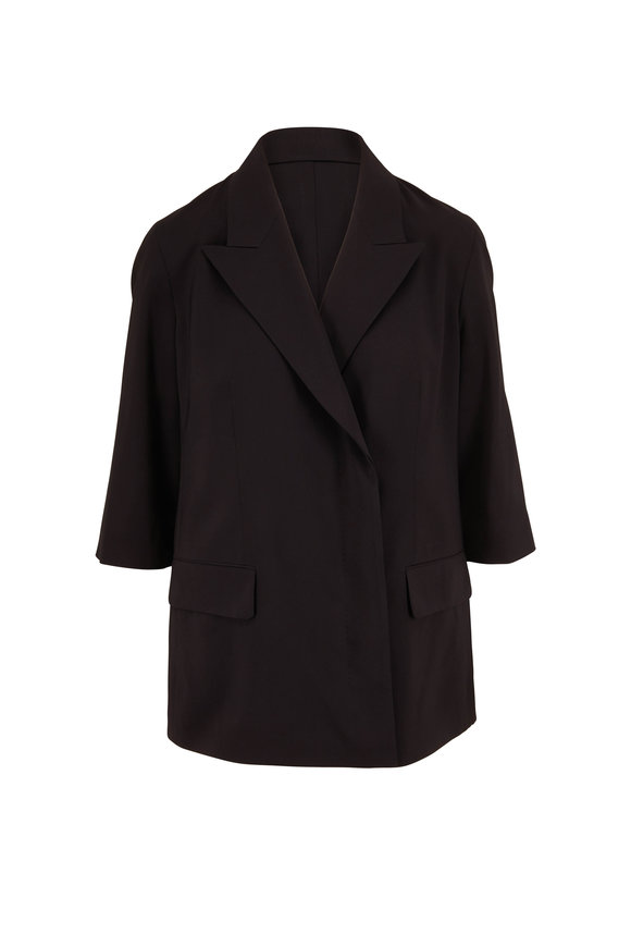 The Row Lynne Black Three-Quarter Sleeve Jacket