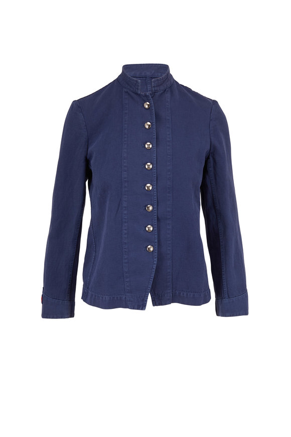 Nili Lotan French Army French Blue Button Front Jacket