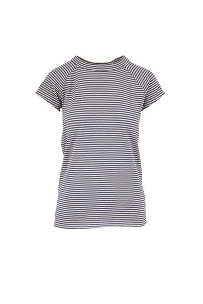 Nili Lotan - Sailor Blue & White Short Sleeve Baseball T-Shirt