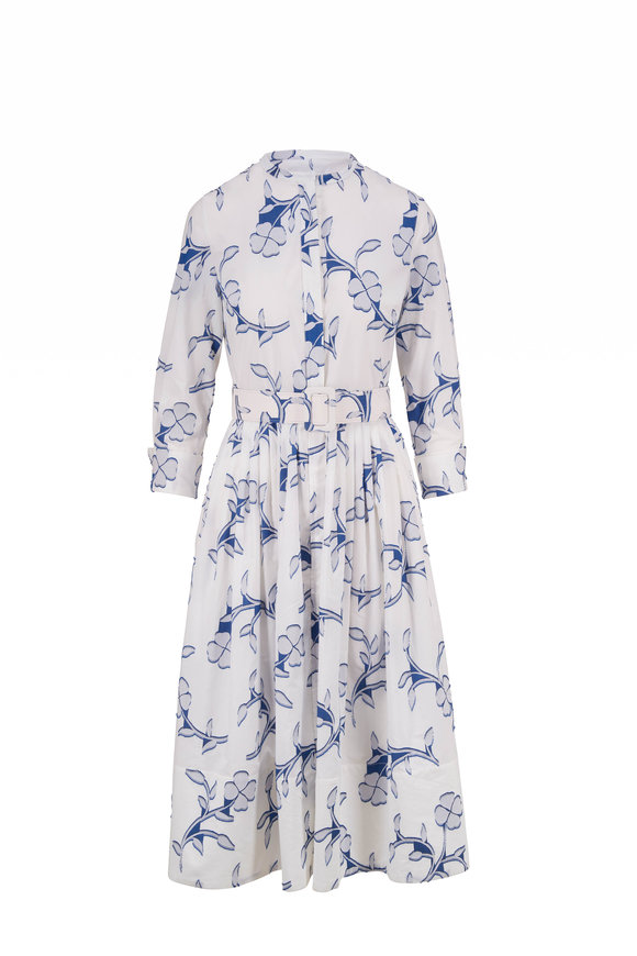 Oscar de la Renta White & Azure Flocked Floral Embroidery Day Dress