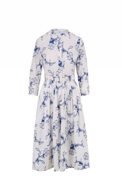 Oscar de la Renta - White & Azure Flocked Floral Embroidery Day Dress