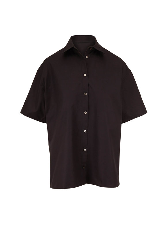 The Row Sissa Black Poplin Short Sleeve Shirt