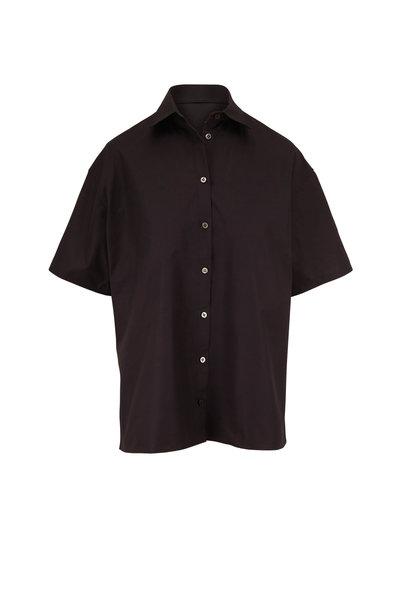 The Row - Sissa Black Poplin Short Sleeve Shirt