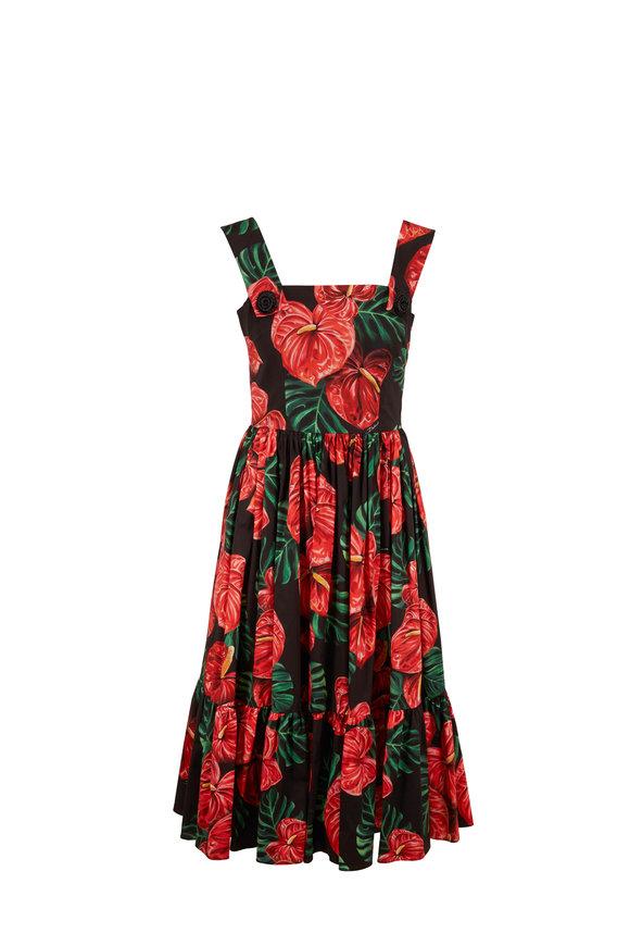 Dolce & Gabbana Red & Black Laceleaf Print Poplin Midi Dress