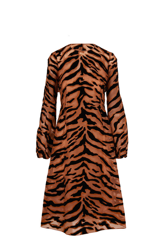 Dolce & Gabbana Longuette Flocked Tiger Print Organza Dress