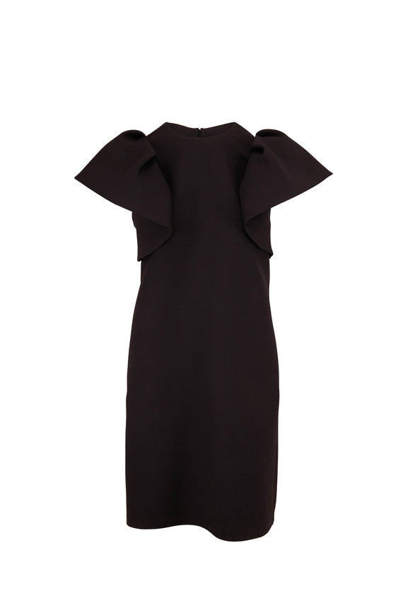 Valentino Black Crepe Couture Ruffle Short Sleeve Dress