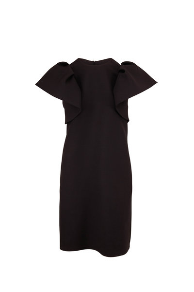 Valentino - Black Crepe Couture Ruffle Short Sleeve Dress