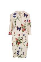 Oscar de la Renta - Ivory Butterfly Floral Print Wool Topper