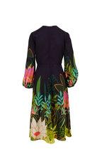 Valentino - Navy Blue Panther In Jungle Print Silk Maxi Dress