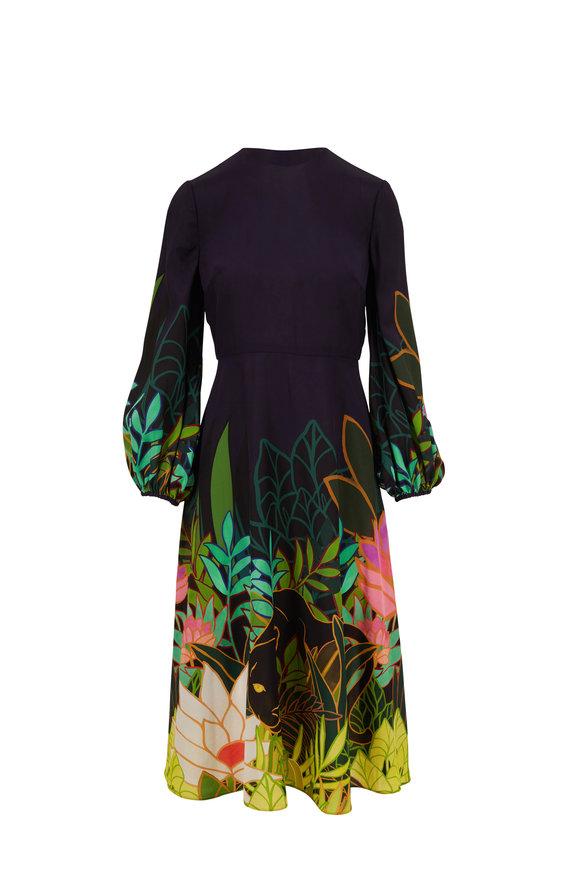 Valentino Navy Blue Panther In Jungle Print Silk Maxi Dress