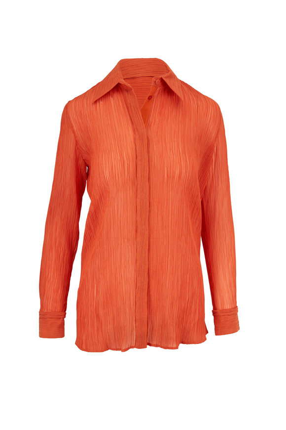 Gabriela Hearst Cruz Spice Crinkled Cotton & Silk Shirt