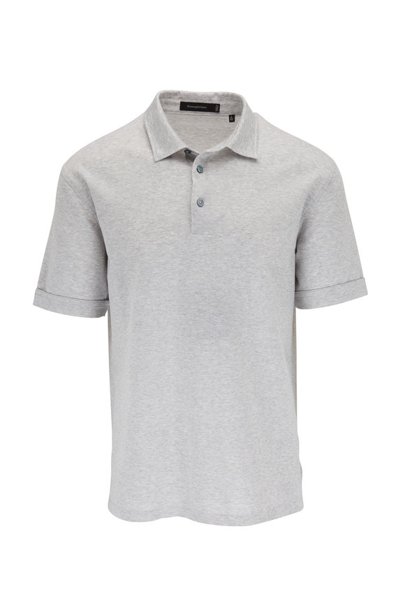 Ermenegildo Zegna Gray Diagonal Stripe Cotton Polo