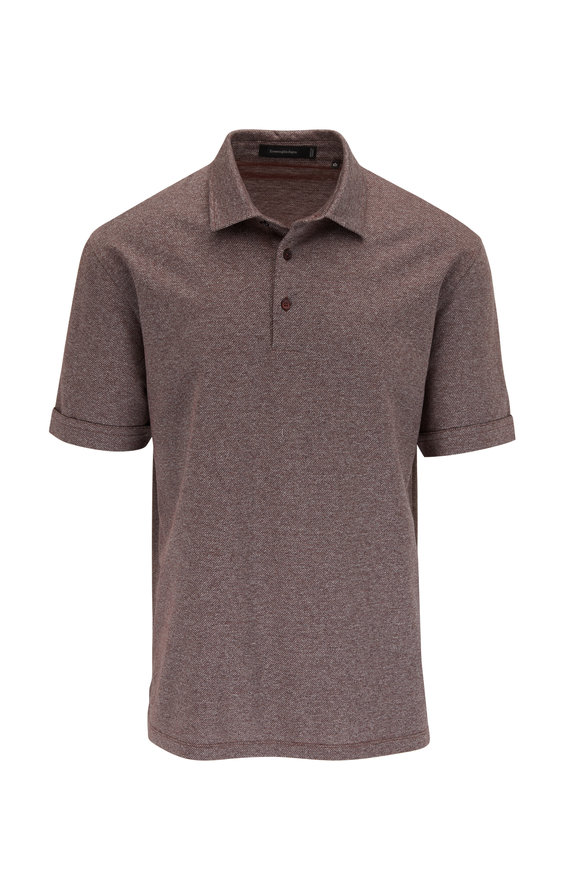 Ermenegildo Zegna Rust Diagonal Stripe Cotton Polo