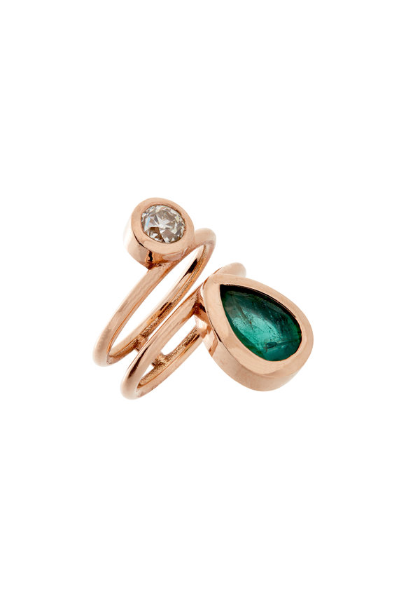 Genevieve Lau 14K Rose Gold Double Emerald & Diamond Ring