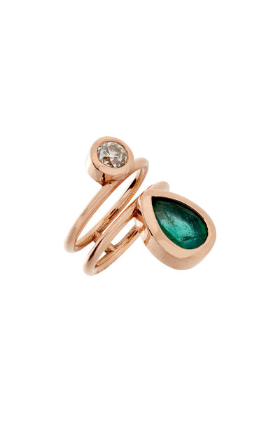 Genevieve Lau - 14K Rose Gold Double Emerald & Diamond Ring