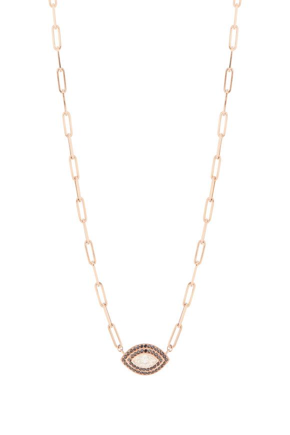 Genevieve Lau 14K Rose Gold Black Diamond Evil Eye Necklace
