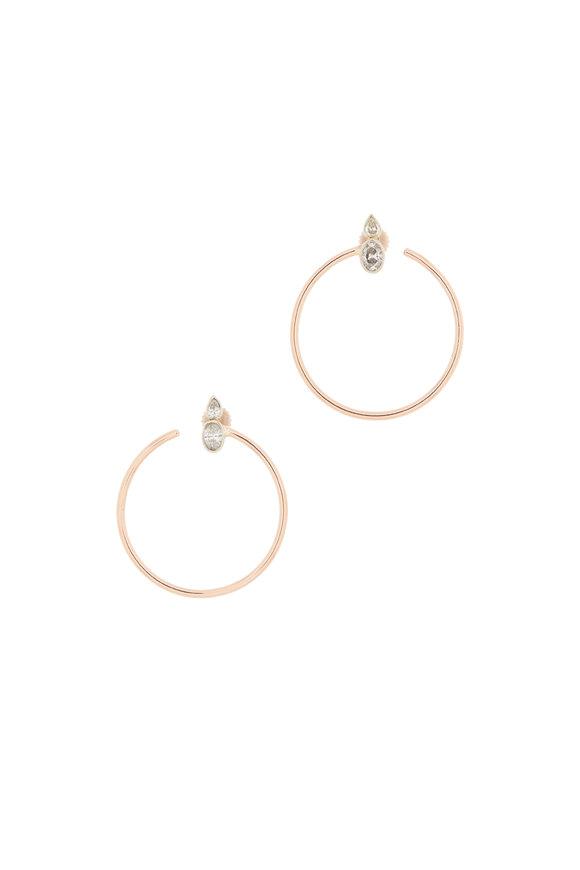 Genevieve Lau 14K Rose Gold Diamond Hoop Earrings