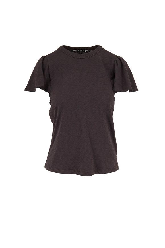 Veronica Beard Zuma Charcoal Ruffle Sleeve T-Shirt